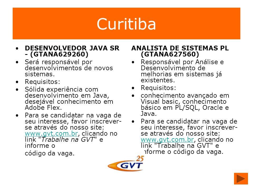 Curitiba DESENVOLVEDOR JAVA SR - (GTANA629260)