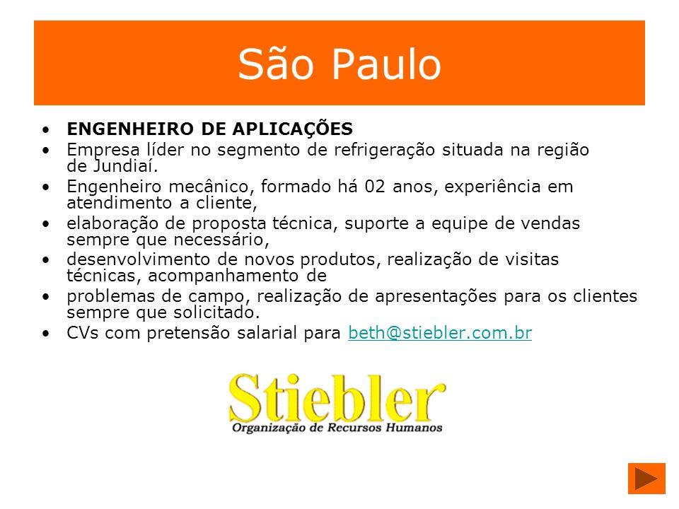 São Paulo ENGENHEIRO DE APLICAÇÕES