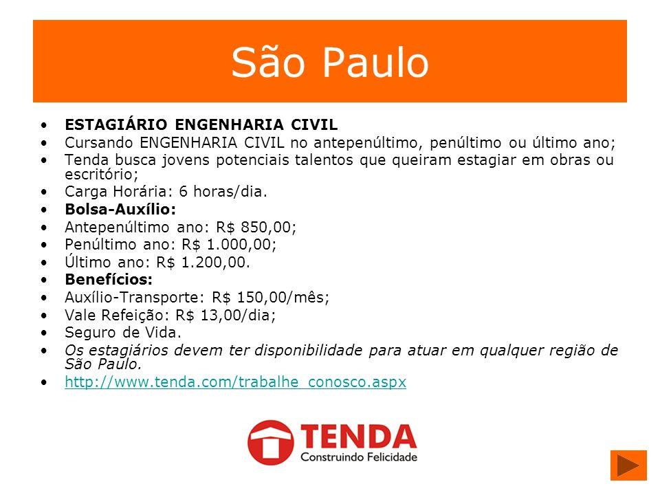São Paulo ESTAGIÁRIO ENGENHARIA CIVIL