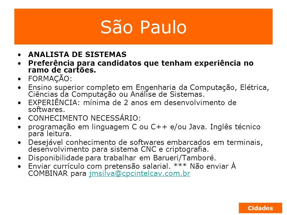 São Paulo ANALISTA DE SISTEMAS