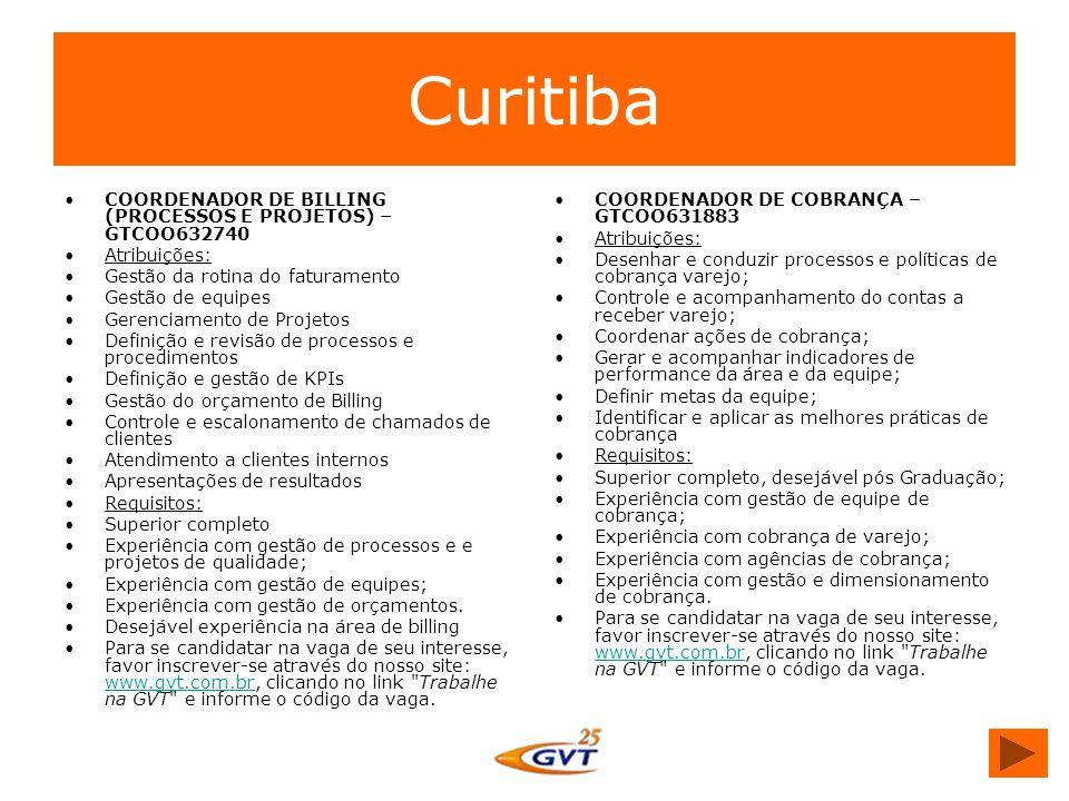 Curitiba COORDENADOR DE BILLING (PROCESSOS E PROJETOS) – GTCOO632740
