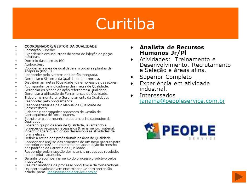 Curitiba Analista de Recursos Humanos Jr/Pl