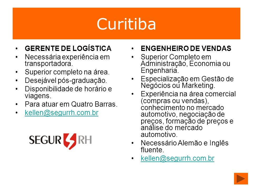 Curitiba GERENTE DE LOGÍSTICA