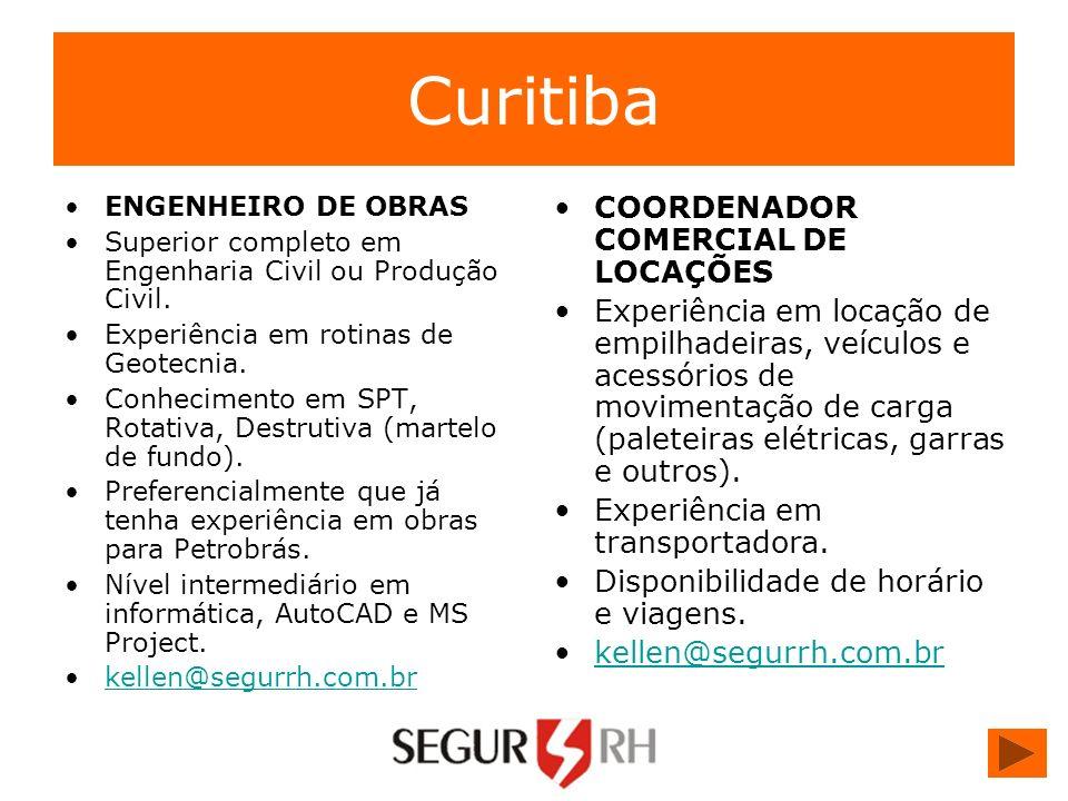Curitiba COORDENADOR COMERCIAL DE LOCAÇÕES