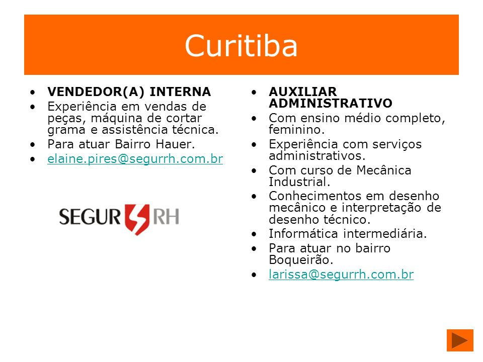 Curitiba VENDEDOR(A) INTERNA