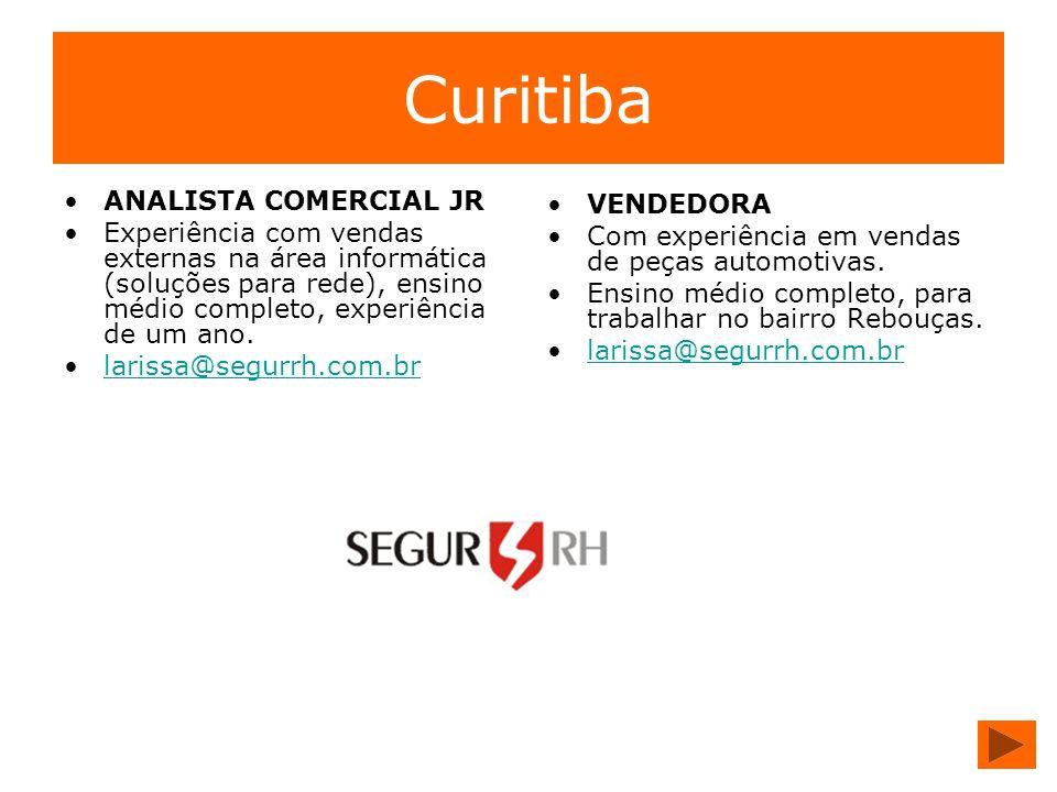 Curitiba ANALISTA COMERCIAL JR VENDEDORA