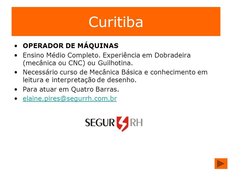 Curitiba OPERADOR DE MÁQUINAS