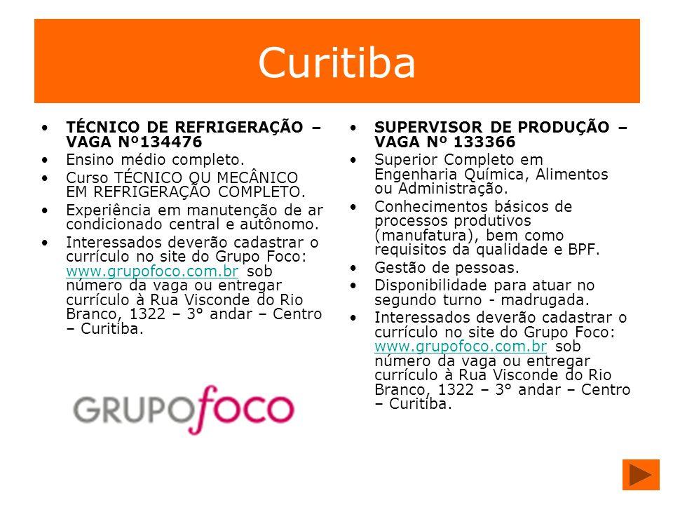 Curitiba TÉCNICO DE REFRIGERAÇÃO – VAGA Nº134476