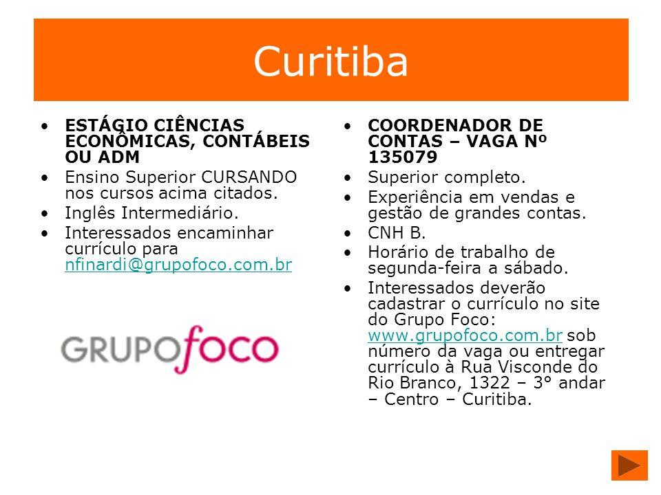 Curitiba ESTÁGIO CIÊNCIAS ECONÔMICAS, CONTÁBEIS OU ADM