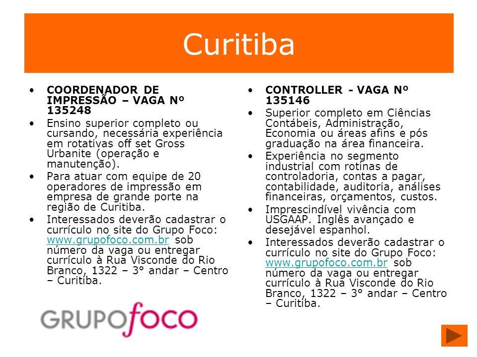 Curitiba COORDENADOR DE IMPRESSÃO – VAGA Nº 135248