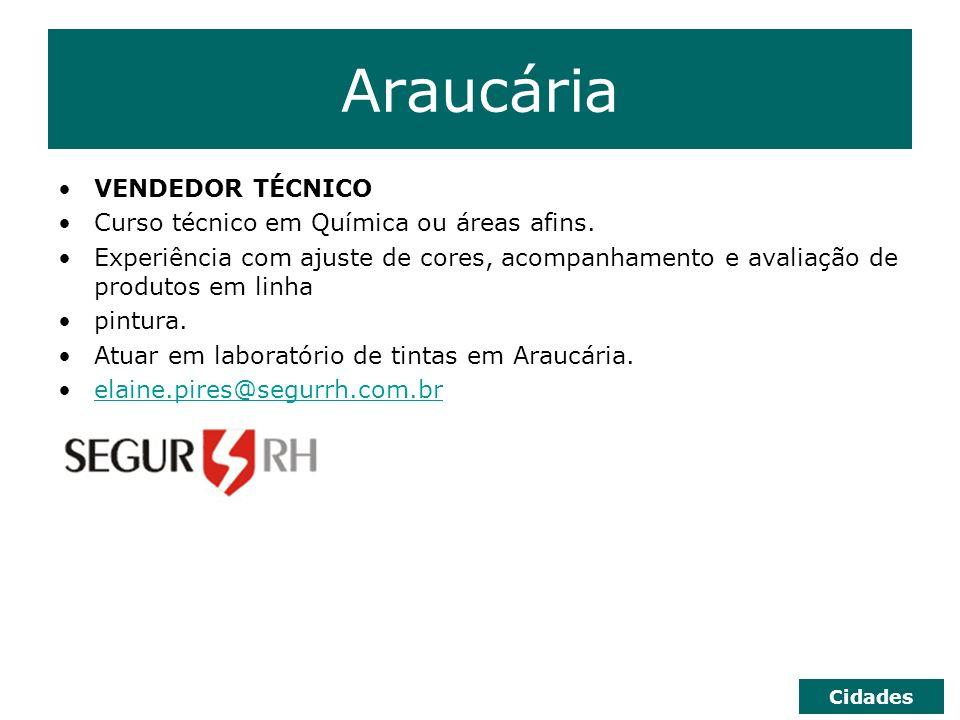 Araucária VENDEDOR TÉCNICO Curso técnico em Química ou áreas afins.