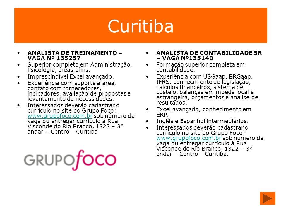 Curitiba ANALISTA DE TREINAMENTO – VAGA Nº 135257