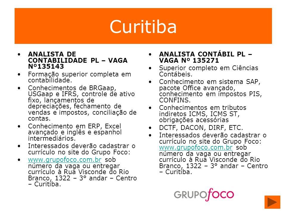 Curitiba ANALISTA DE CONTABILIDADE PL – VAGA Nº135143