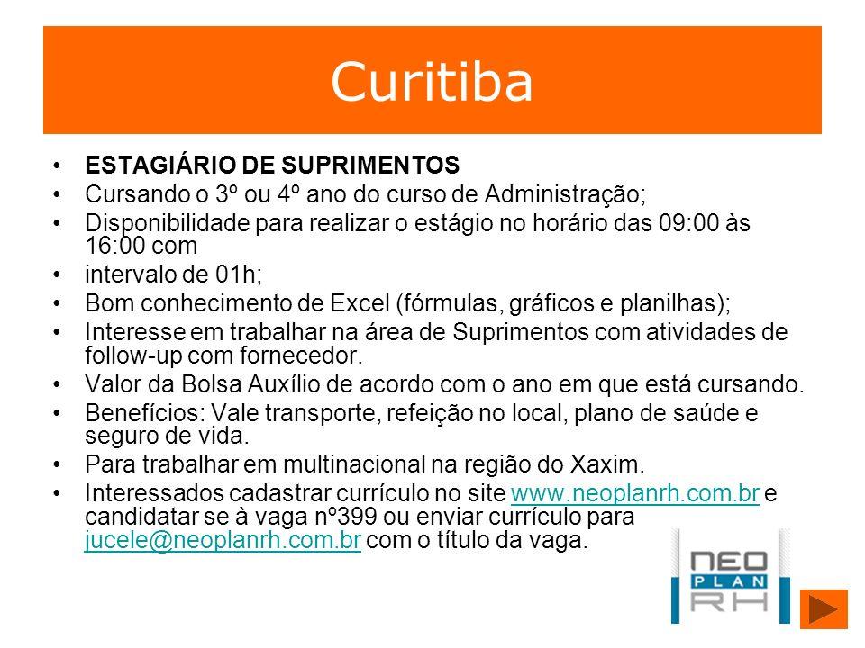 Curitiba ESTAGIÁRIO DE SUPRIMENTOS