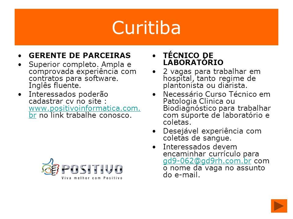 Curitiba GERENTE DE PARCEIRAS