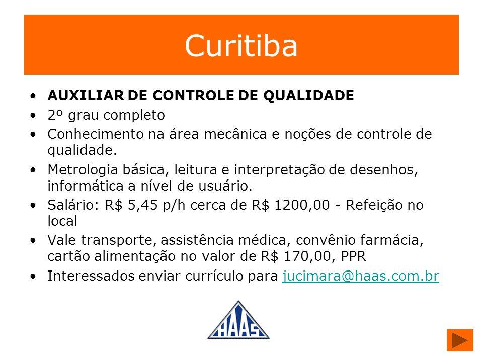 Curitiba AUXILIAR DE CONTROLE DE QUALIDADE 2º grau completo