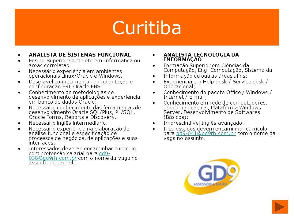 Curitiba ANALISTA DE SISTEMAS FUNCIONAL