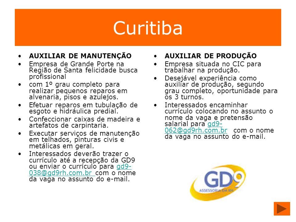 Curitiba AUXILIAR DE MANUTENÇÃO