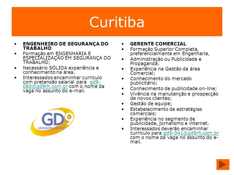 Curitiba ENGENHEIRO DE SEGURANÇA DO TRABALHO