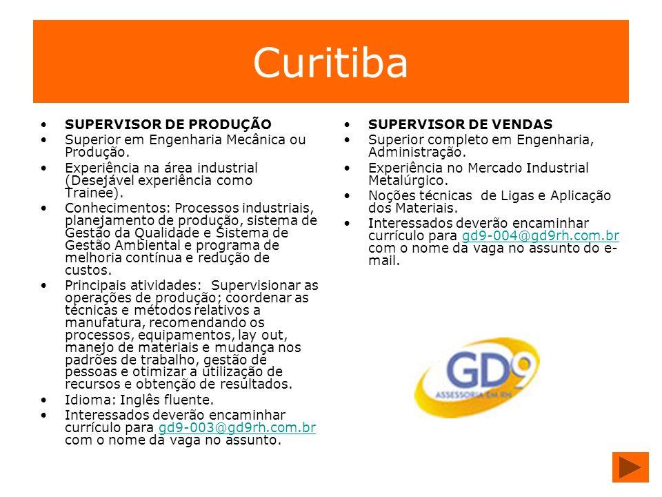 Curitiba SUPERVISOR DE PRODUÇÃO