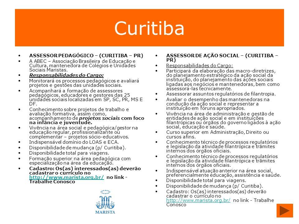 Curitiba ASSESSOR PEDAGÓGICO – (CURITIBA – PR)