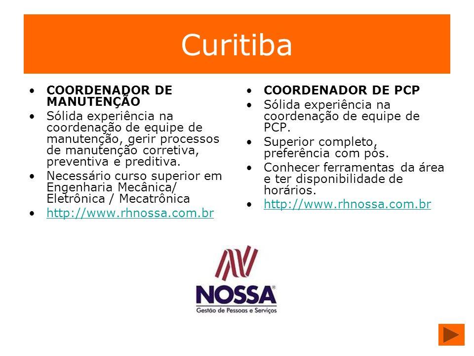 Curitiba COORDENADOR DE MANUTENÇÃO