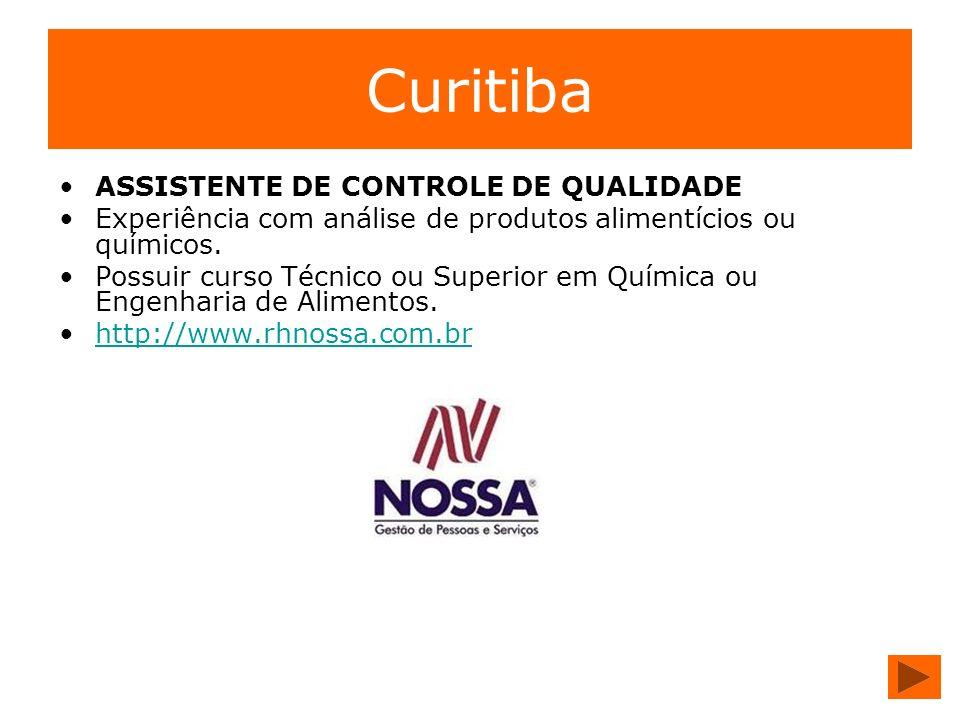 Curitiba ASSISTENTE DE CONTROLE DE QUALIDADE