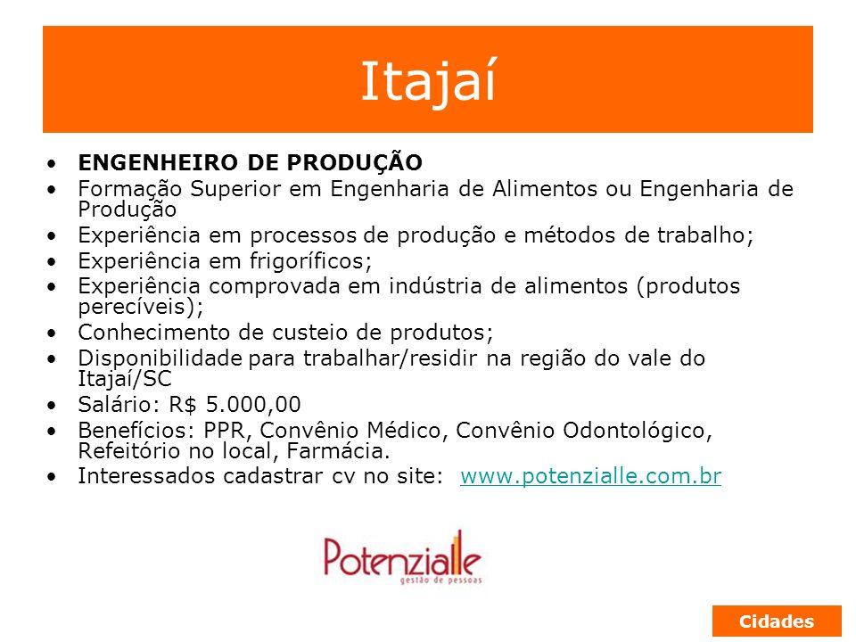 Itajaí ENGENHEIRO DE PRODUÇÃO