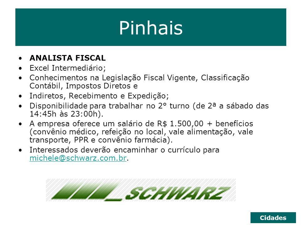Pinhais ANALISTA FISCAL Excel Intermediário;