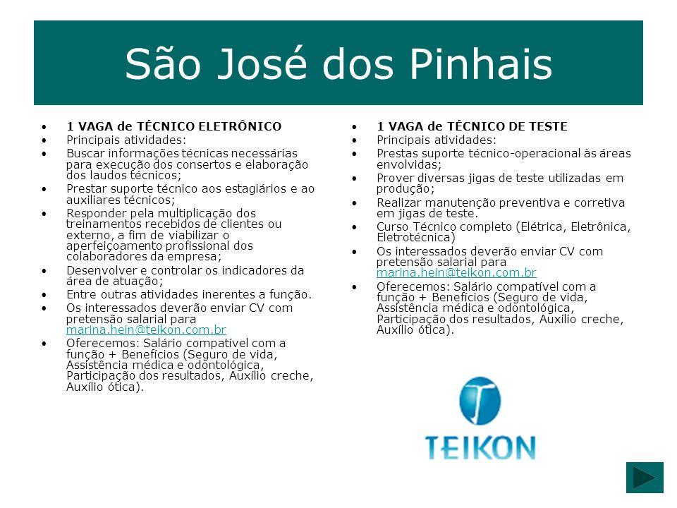 São José dos Pinhais 1 VAGA de TÉCNICO ELETRÔNICO