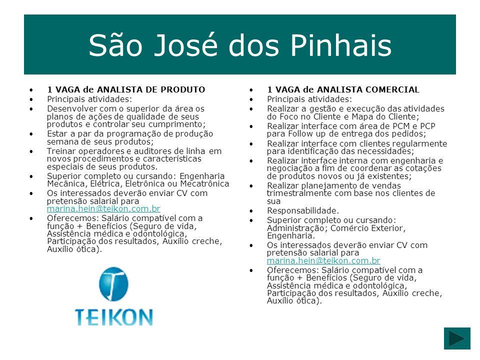 São José dos Pinhais 1 VAGA de ANALISTA DE PRODUTO