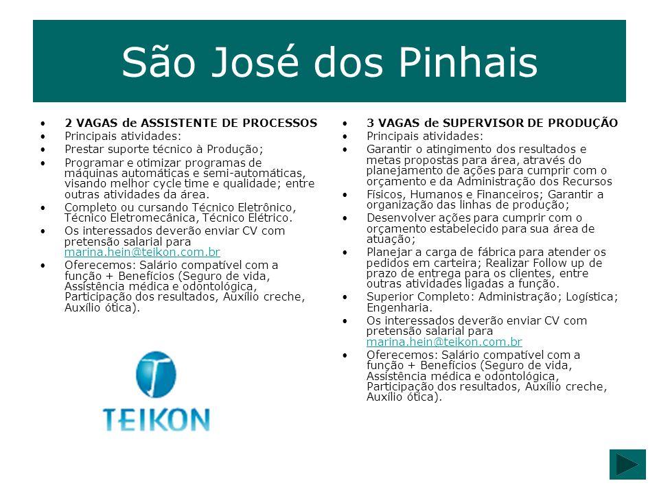 São José dos Pinhais 2 VAGAS de ASSISTENTE DE PROCESSOS