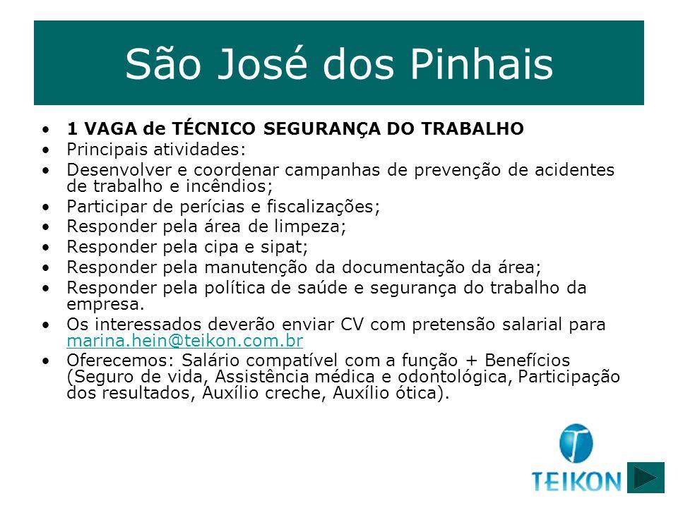 São José dos Pinhais 1 VAGA de TÉCNICO SEGURANÇA DO TRABALHO