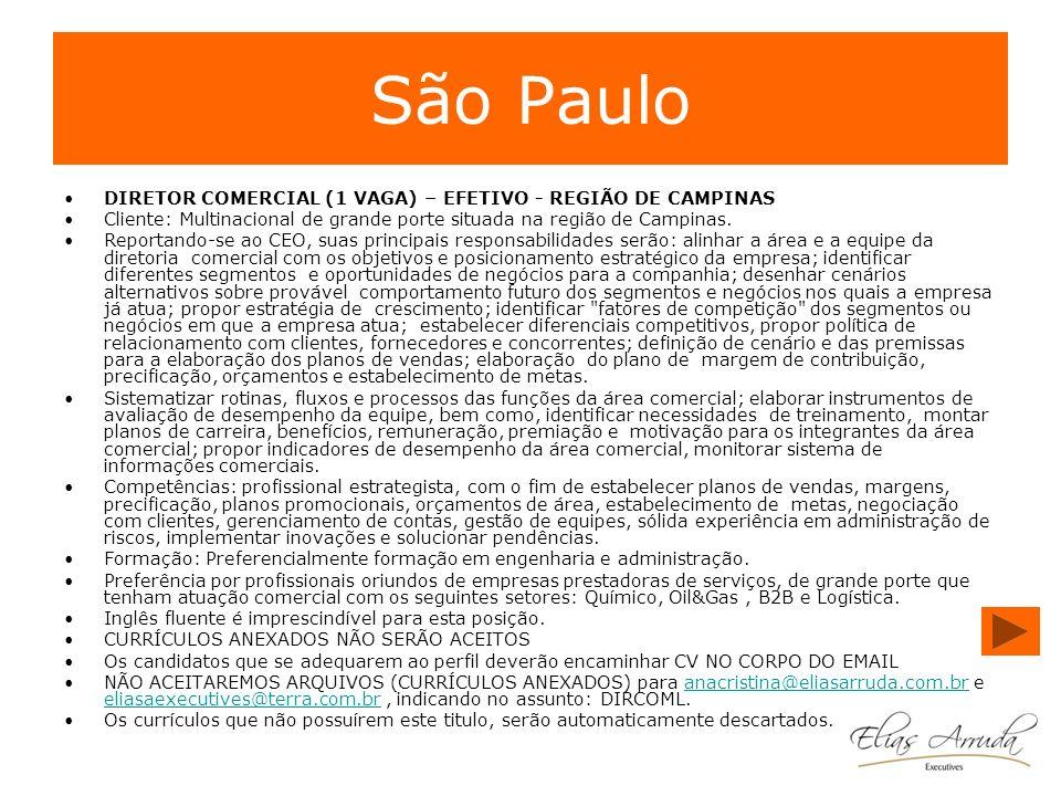 São Paulo DIRETOR COMERCIAL (1 VAGA) – EFETIVO - REGIÃO DE CAMPINAS