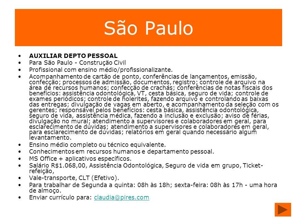 São Paulo AUXILIAR DEPTO PESSOAL Para São Paulo - Construção Civil
