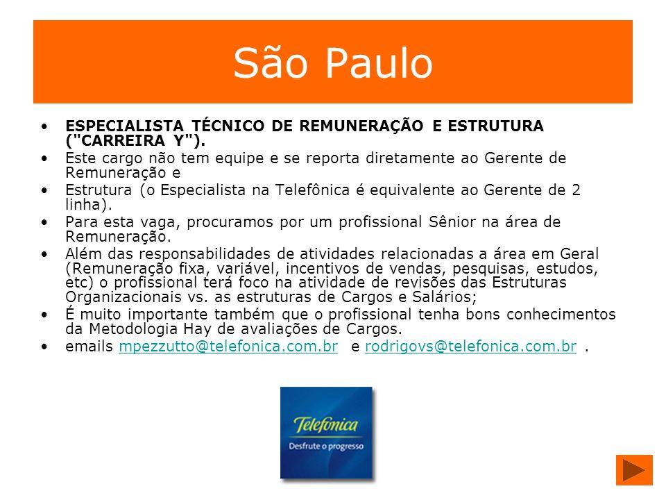 São Paulo ESPECIALISTA TÉCNICO DE REMUNERAÇÃO E ESTRUTURA ( CARREIRA Y ).