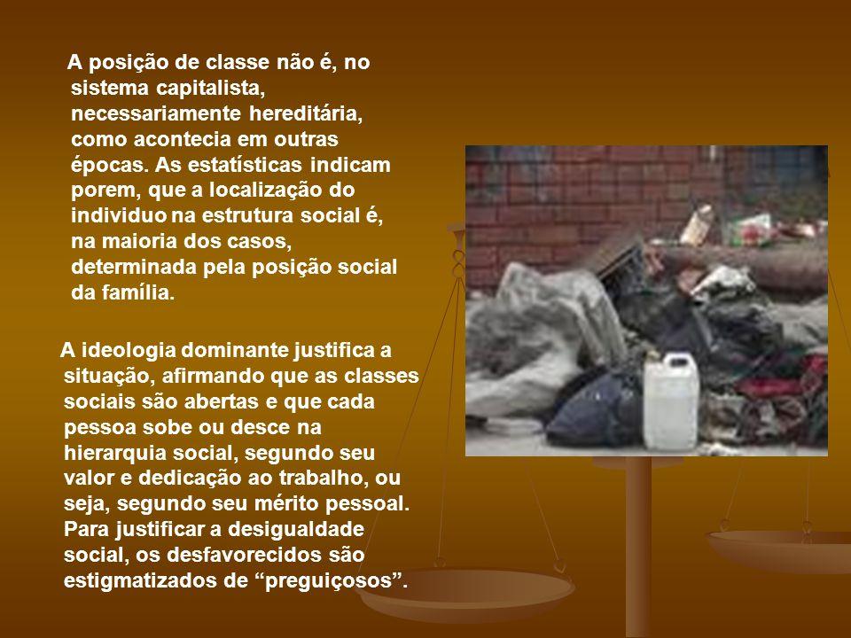 A posição de classe não é, no sistema capitalista, necessariamente hereditária, como acontecia em outras épocas. As estatísticas indicam porem, que a localização do individuo na estrutura social é, na maioria dos casos, determinada pela posição social da família.