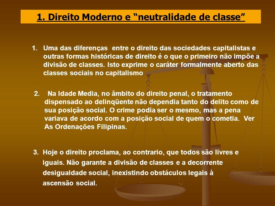 1. Direito Moderno e neutralidade de classe