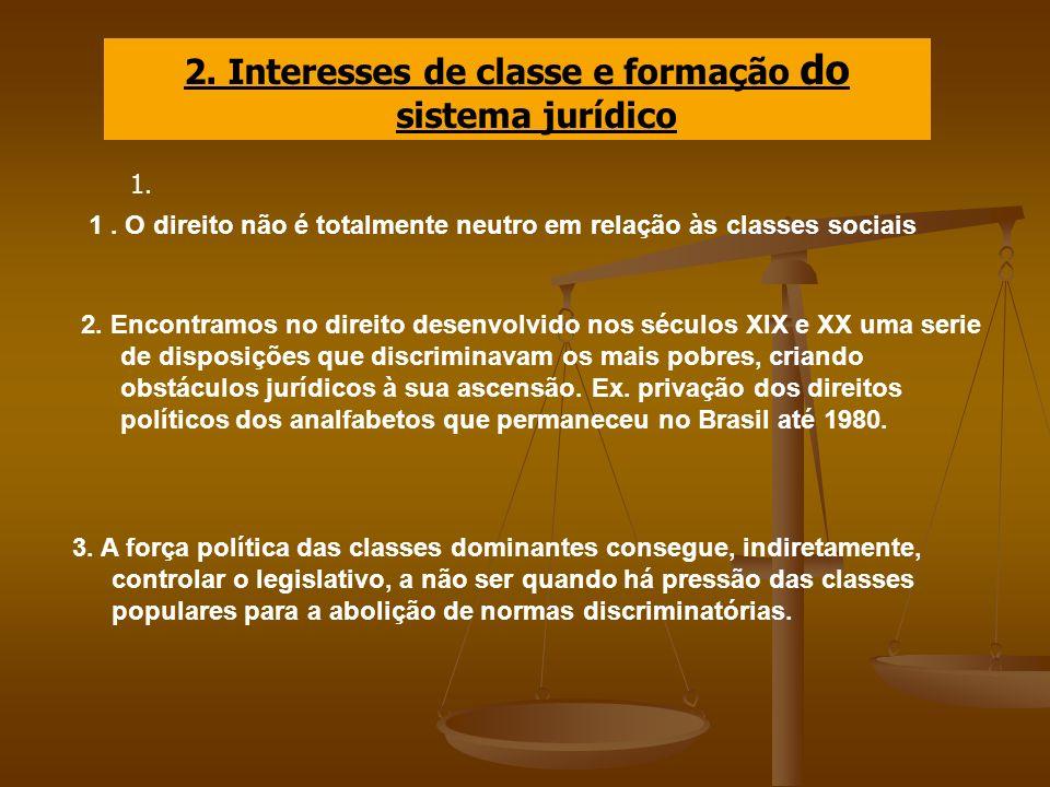 2. Interesses de classe e formação do sistema jurídico