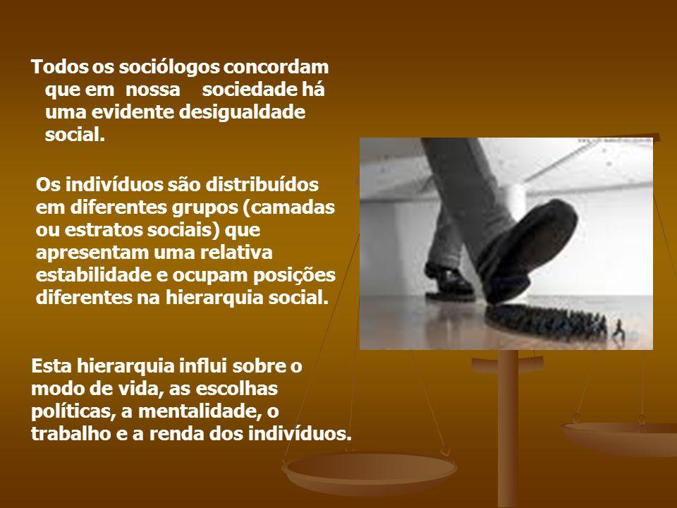 Todos os sociólogos concordam que em nossa sociedade há uma evidente desigualdade social.