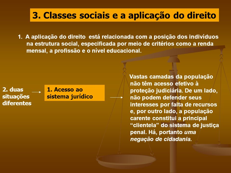 3. Classes sociais e a aplicação do direito