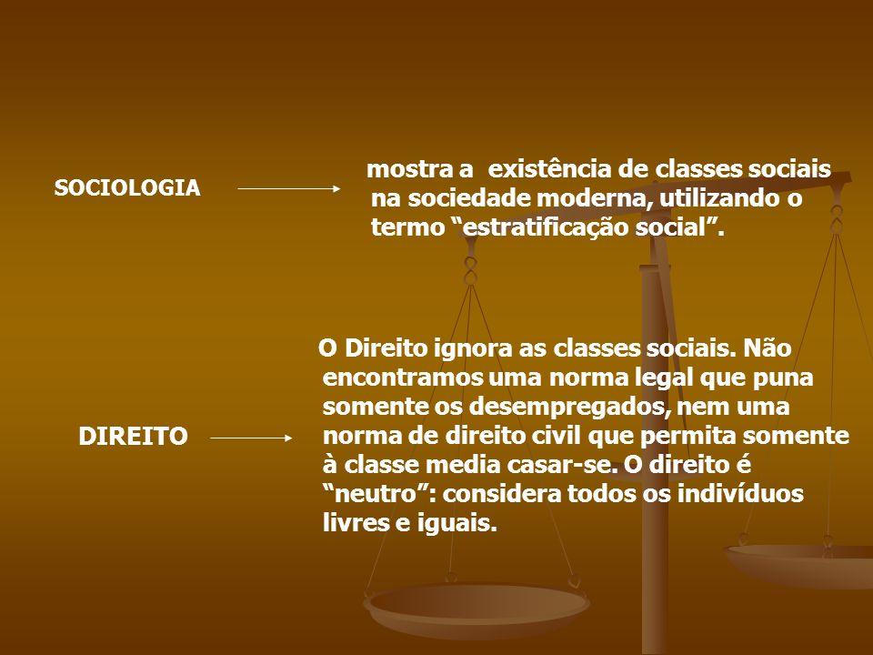 mostra a existência de classes sociais na sociedade moderna, utilizando o termo estratificação social .