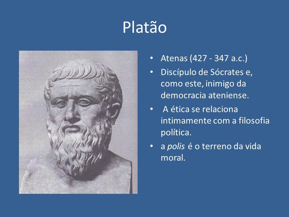 Platão Atenas (427 - 347 a.c.) Discípulo de Sócrates e, como este, inimigo da democracia ateniense.