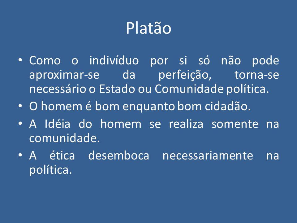 Platão Como o indivíduo por si só não pode aproximar-se da perfeição, torna-se necessário o Estado ou Comunidade política.