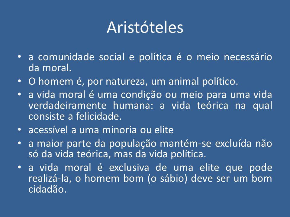 Aristóteles a comunidade social e política é o meio necessário da moral. O homem é, por natureza, um animal político.