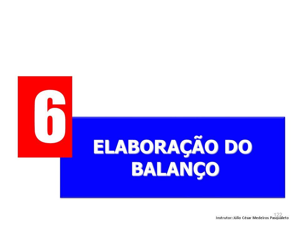 6 ELABORAÇÃO DO BALANÇO Instrutor: Júlio César Medeiros Pasqualeto