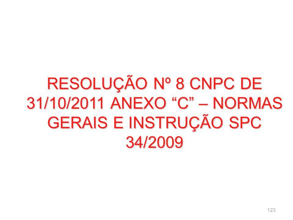 RESOLUÇÃO Nº 8 CNPC DE 31/10/2011 ANEXO C – NORMAS GERAIS E INSTRUÇÃO SPC 34/2009