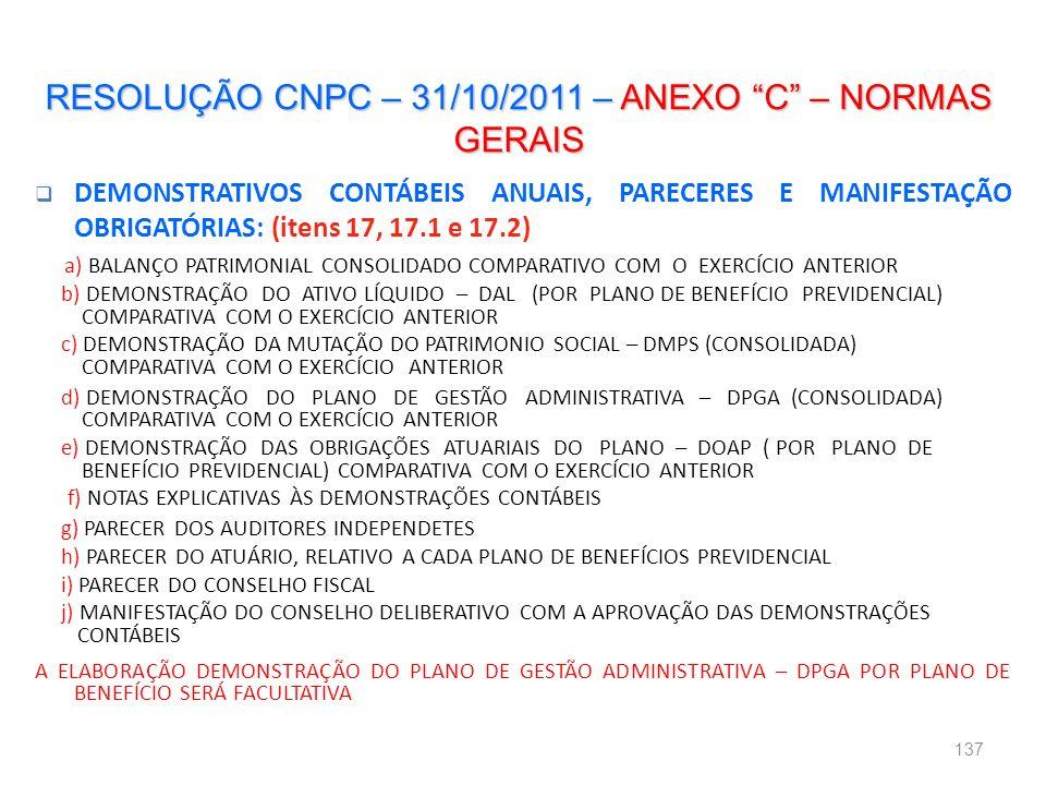 RESOLUÇÃO CNPC – 31/10/2011 – ANEXO C – NORMAS GERAIS