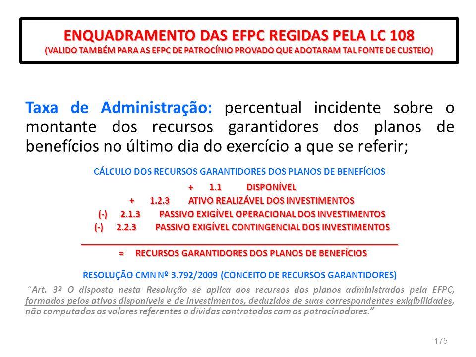 ENQUADRAMENTO DAS EFPC REGIDAS PELA LC 108 (VALIDO TAMBÉM PARA AS EFPC DE PATROCÍNIO PROVADO QUE ADOTARAM TAL FONTE DE CUSTEIO)