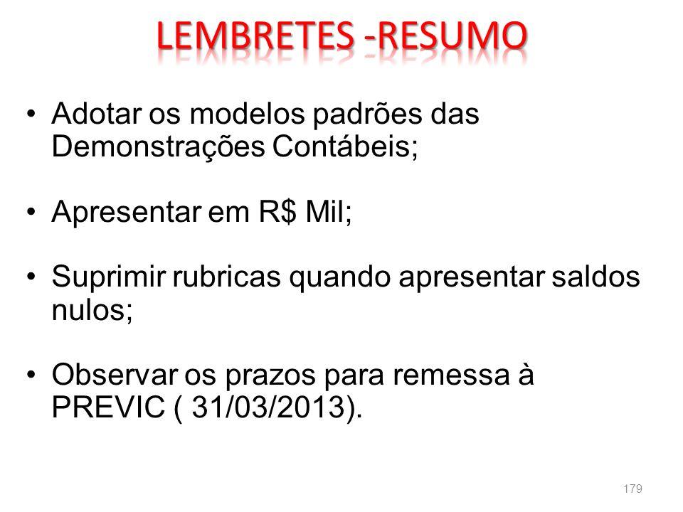 LEMBRETES -RESUMO Adotar os modelos padrões das Demonstrações Contábeis; Apresentar em R$ Mil; Suprimir rubricas quando apresentar saldos nulos;